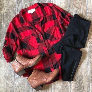 Cloth & Stone Buffalo Plaid Button Up Top